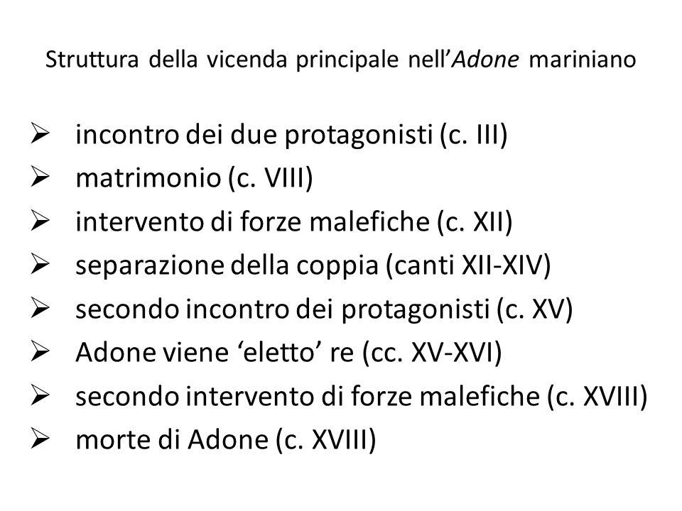 Struttura della vicenda principale nell'Adone mariniano  incontro dei due protagonisti (c. III)  matrimonio (c. VIII)  intervento di forze malefich