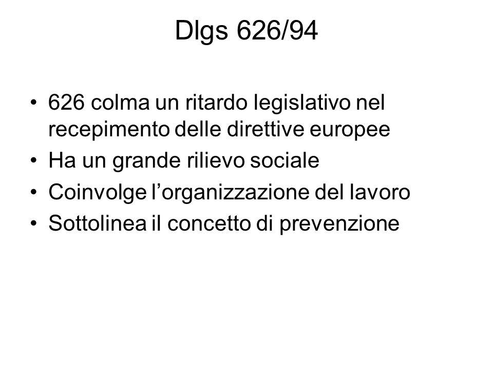 Dlgs 626/94 626 colma un ritardo legislativo nel recepimento delle direttive europee Ha un grande rilievo sociale Coinvolge l'organizzazione del lavoro Sottolinea il concetto di prevenzione