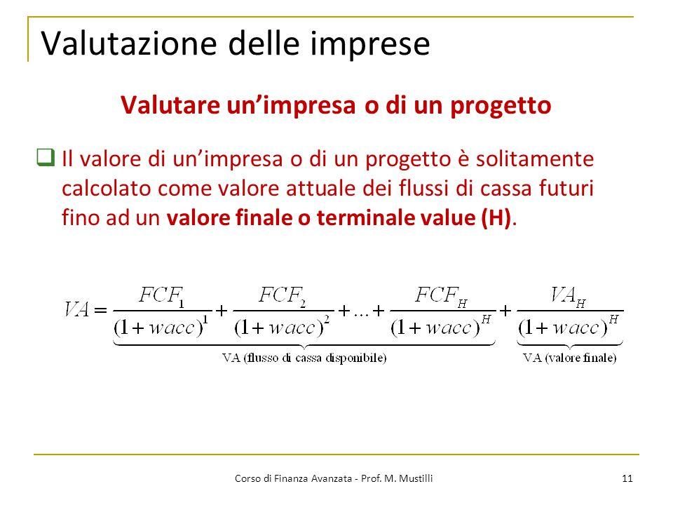 Valutazione delle imprese 11 Corso di Finanza Avanzata - Prof. M. Mustilli Valutare un'impresa o di un progetto  Il valore di un'impresa o di un prog