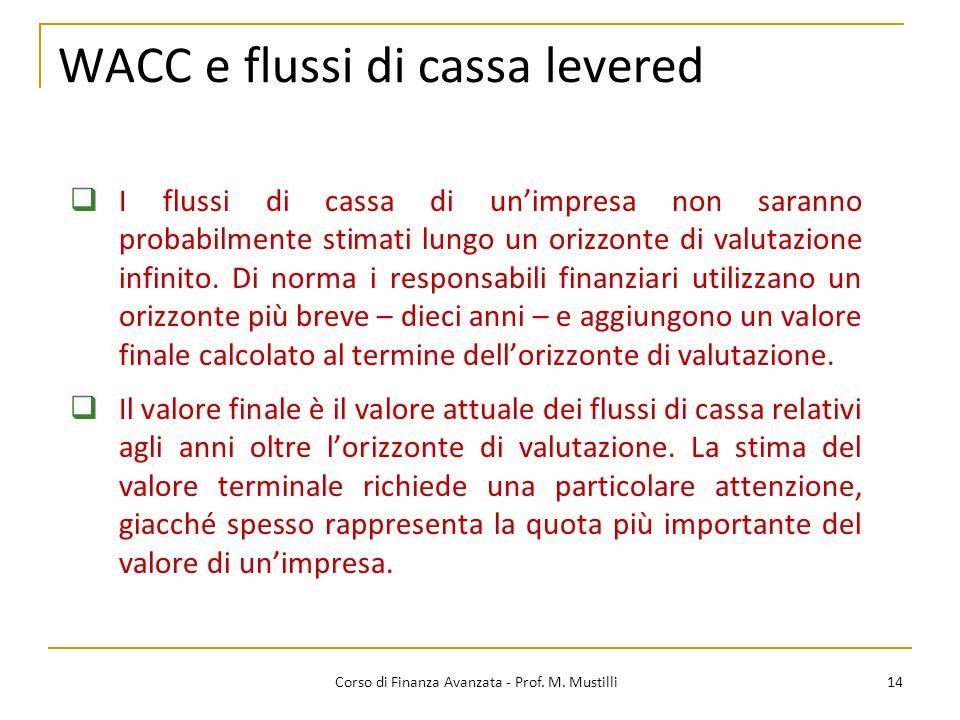 14 Corso di Finanza Avanzata - Prof. M. Mustilli  I flussi di cassa di un'impresa non saranno probabilmente stimati lungo un orizzonte di valutazione