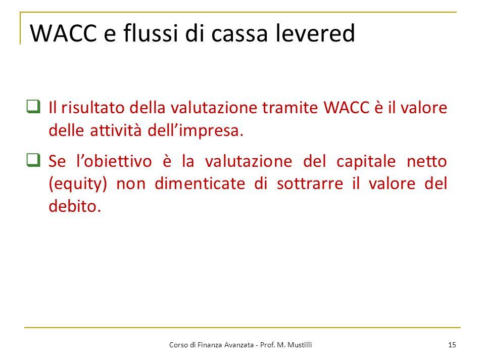 15 Corso di Finanza Avanzata - Prof. M. Mustilli  Il risultato della valutazione tramite WACC è il valore delle attività dell'impresa.  Se l'obietti