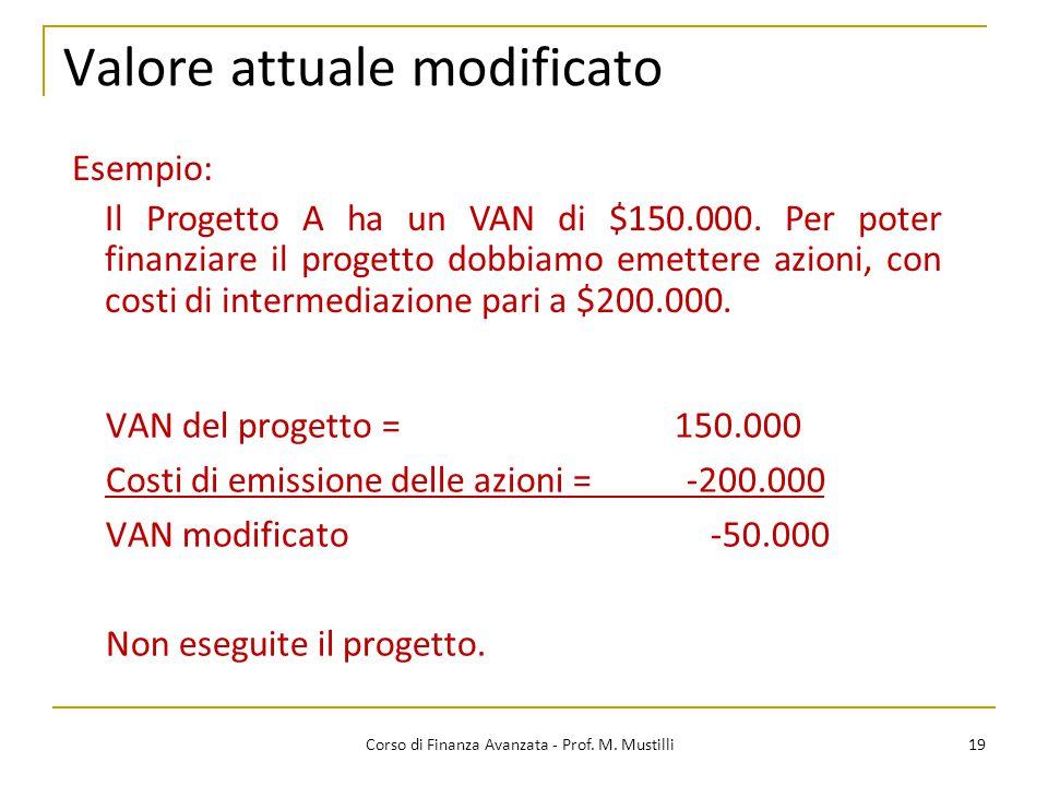 Valore attuale modificato 19 Corso di Finanza Avanzata - Prof. M. Mustilli VAN del progetto = 150.000 Costi di emissione delle azioni = -200.000 VAN m