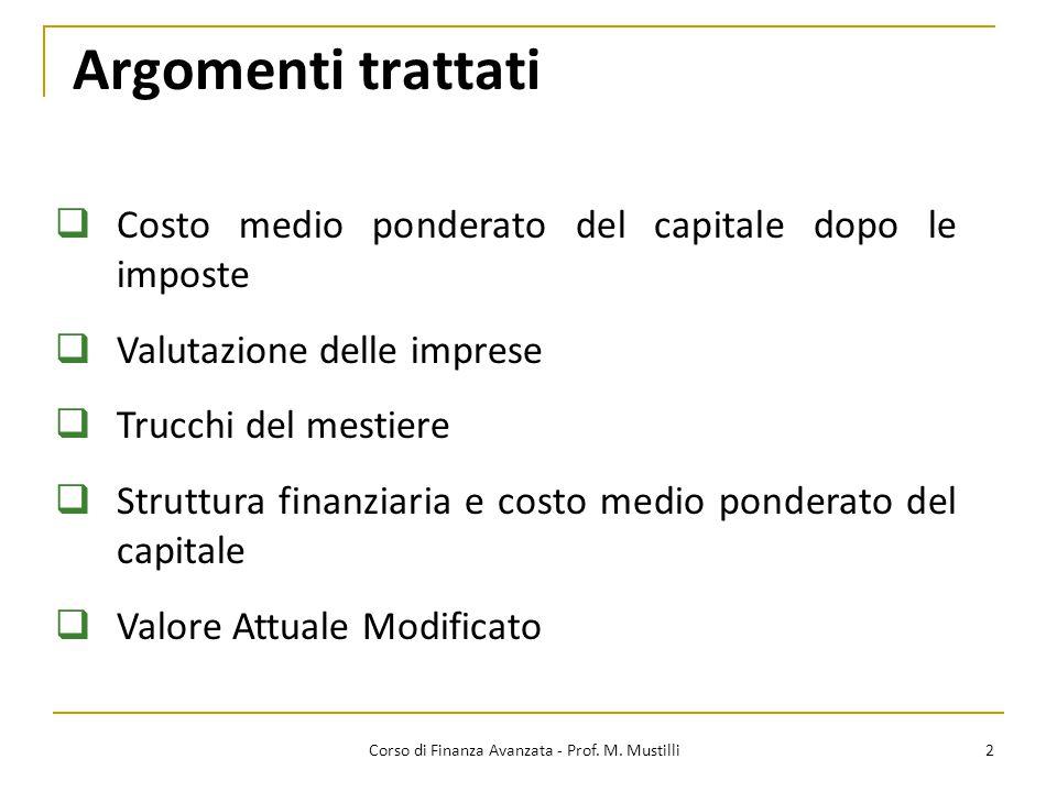 WACC e flussi di cassa levered 13 Corso di Finanza Avanzata - Prof.