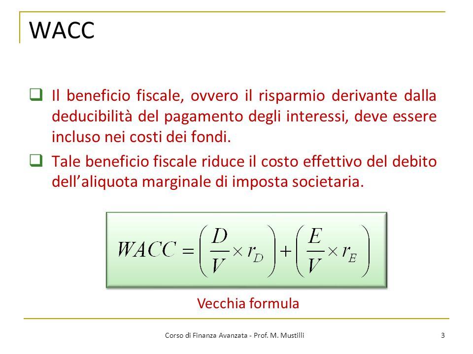WACC 3 Corso di Finanza Avanzata - Prof. M. Mustilli  Il beneficio fiscale, ovvero il risparmio derivante dalla deducibilità del pagamento degli inte
