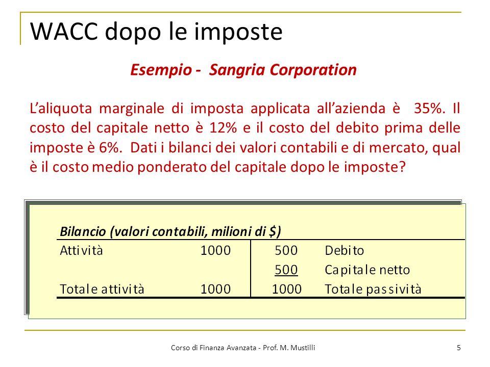 5 Corso di Finanza Avanzata - Prof. M. Mustilli WACC dopo le imposte Esempio - Sangria Corporation L'aliquota marginale di imposta applicata all'azien