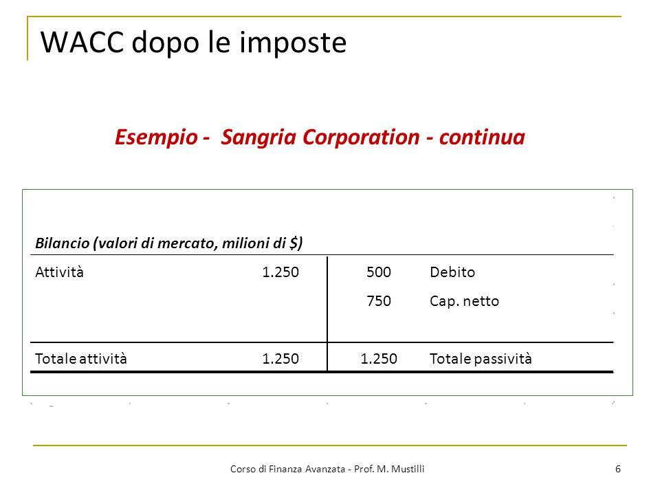 6 Corso di Finanza Avanzata - Prof. M. Mustilli WACC dopo le imposte Esempio - Sangria Corporation - continua Bilancio (valori di mercato, milioni di