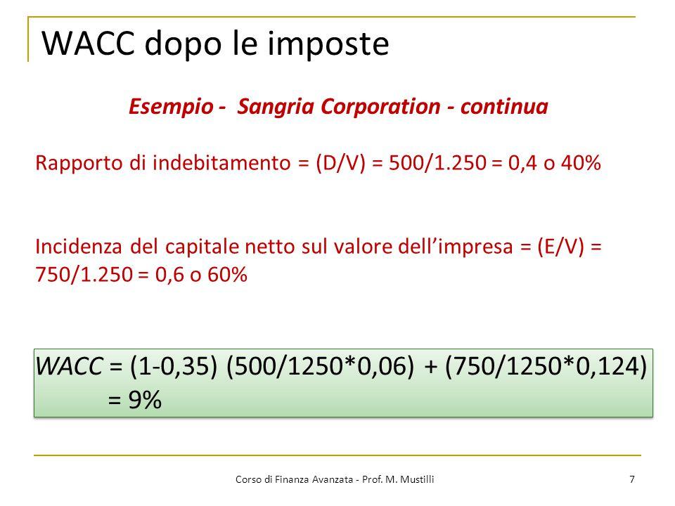WACC dopo le imposte 7 Corso di Finanza Avanzata - Prof. M. Mustilli Esempio - Sangria Corporation - continua Rapporto di indebitamento = (D/V) = 500/