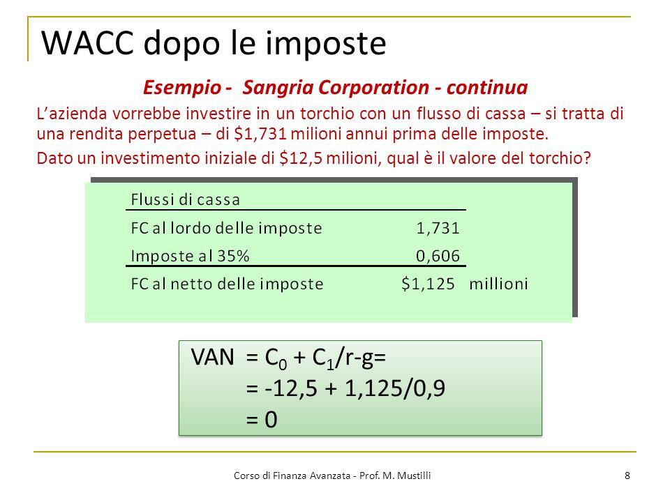 8 Corso di Finanza Avanzata - Prof. M. Mustilli WACC dopo le imposte L'azienda vorrebbe investire in un torchio con un flusso di cassa – si tratta di
