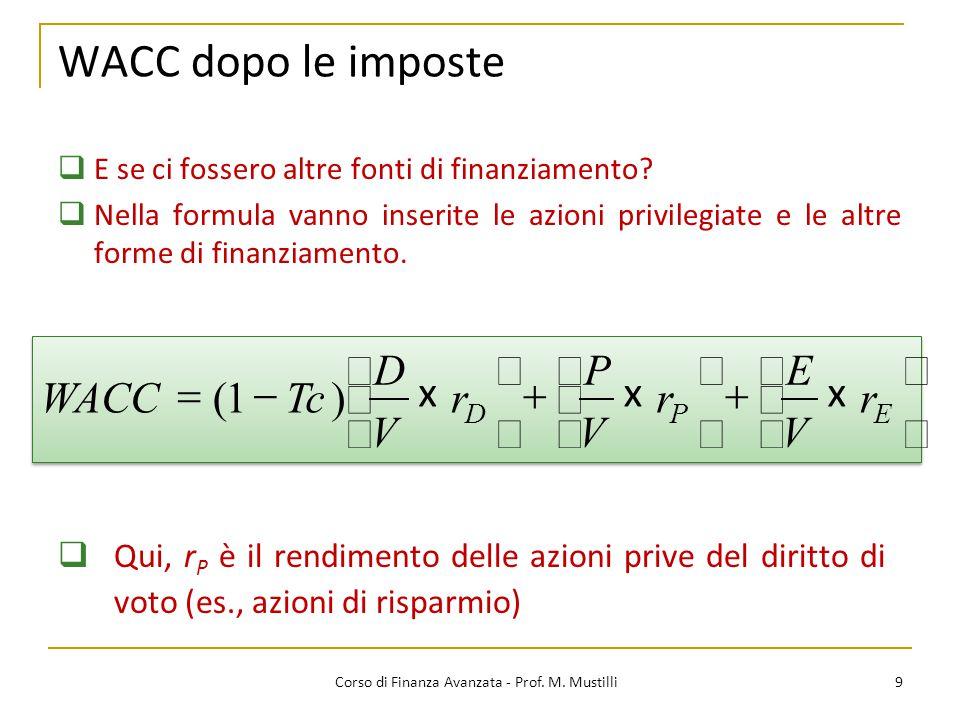 WACC dopo le imposte 9 Corso di Finanza Avanzata - Prof. M. Mustilli  E se ci fossero altre fonti di finanziamento?  Nella formula vanno inserite le