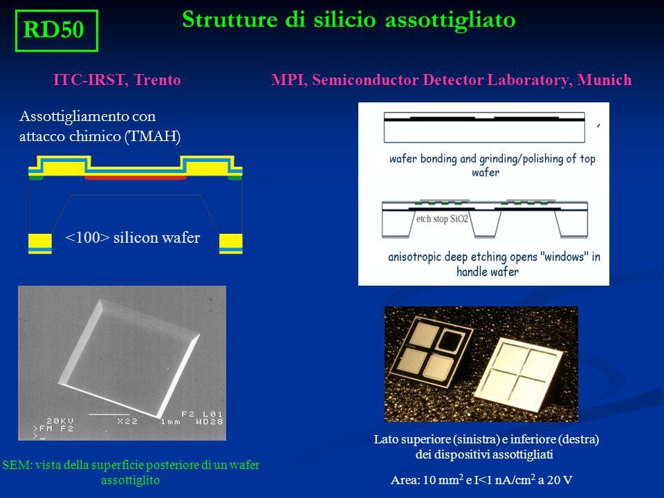 Strutture di silicio assottigliato ITC-IRST, Trento silicon wafer SEM: vista della superficie posteriore di un wafer assottiglito Assottigliamento con