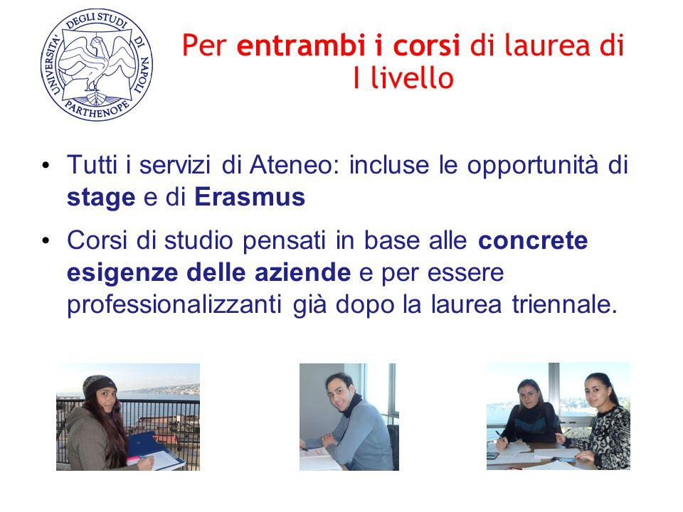 Per entrambi i corsi di laurea di I livello Tutti i servizi di Ateneo: incluse le opportunità di stage e di Erasmus Corsi di studio pensati in base al