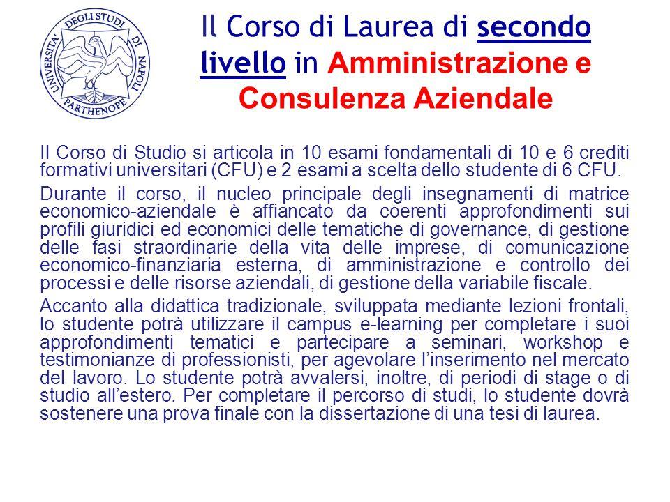 Il Corso di Laurea di secondo livello in Amministrazione e Consulenza Aziendale Il Corso di Studio si articola in 10 esami fondamentali di 10 e 6 cred