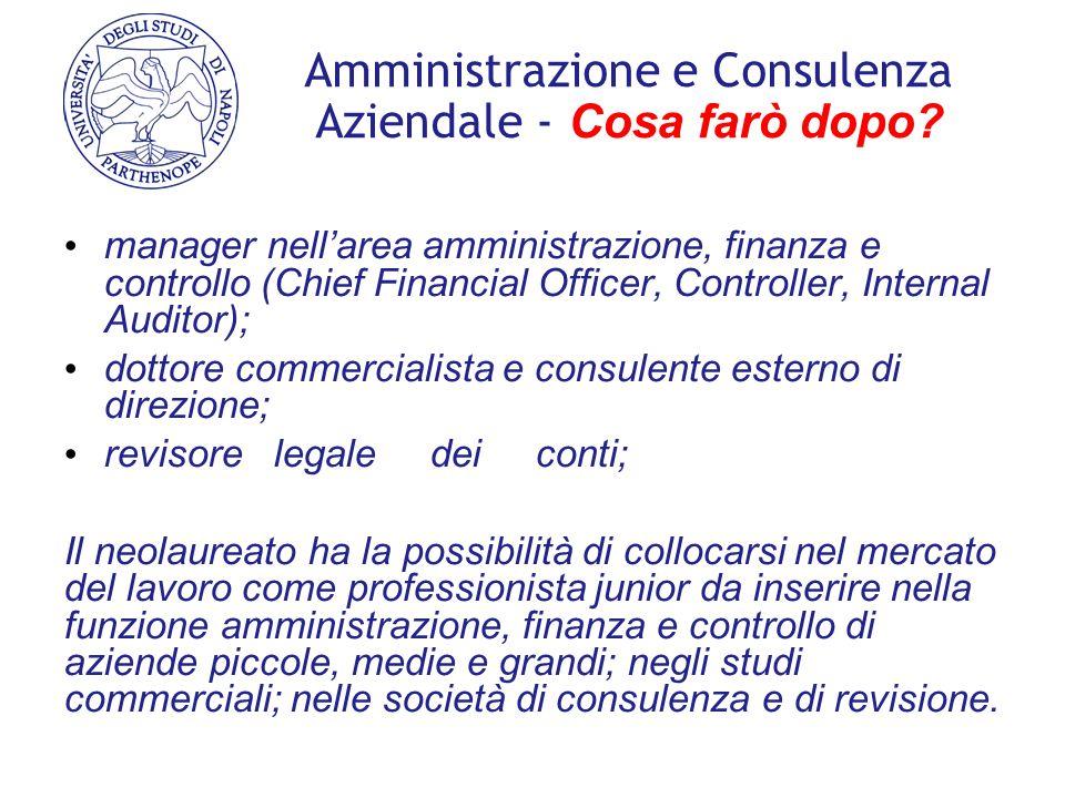 Amministrazione e Consulenza Aziendale - Cosa farò dopo? manager nell'area amministrazione, finanza e controllo (Chief Financial Officer, Controller,