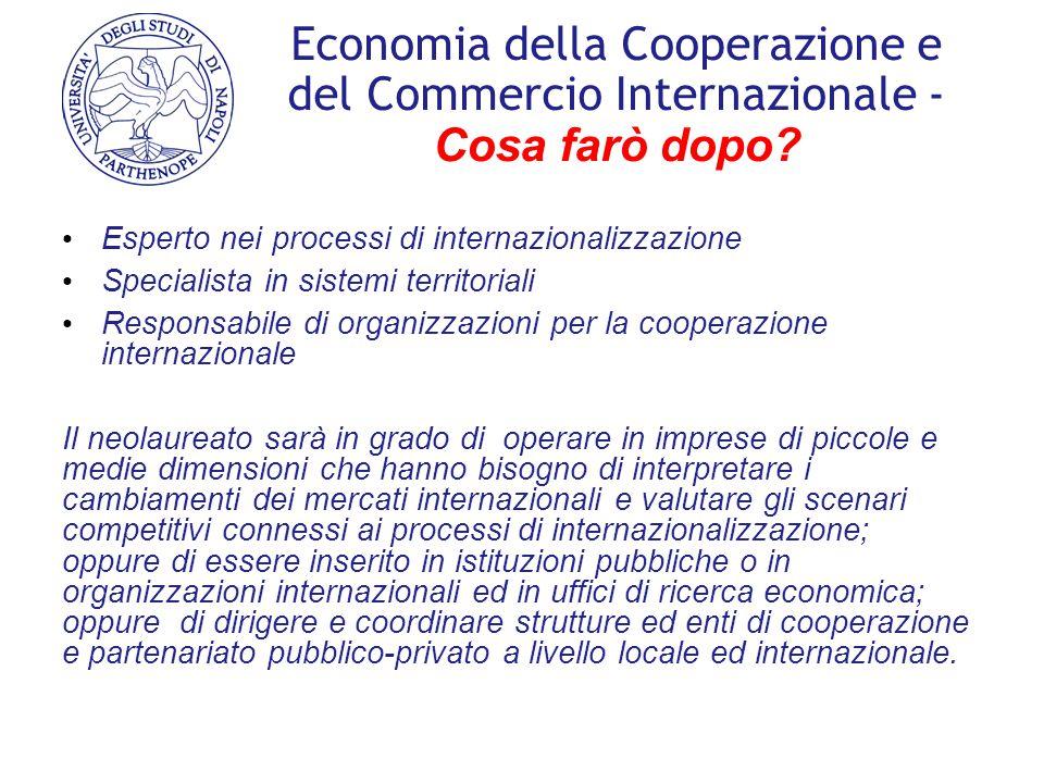 Economia della Cooperazione e del Commercio Internazionale - Cosa farò dopo? Esperto nei processi di internazionalizzazione Specialista in sistemi ter