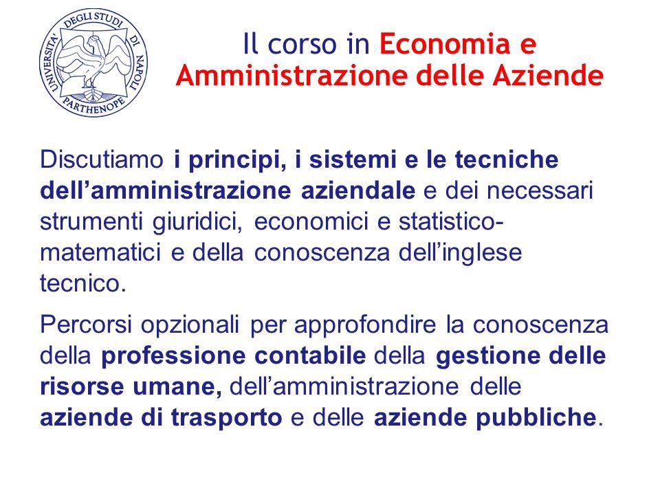 Il corso in Economia e Amministrazione delle Aziende Discutiamo i principi, i sistemi e le tecniche dell'amministrazione aziendale e dei necessari str