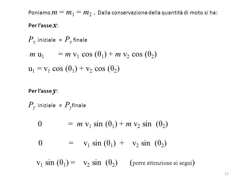 Poniamo m = m 1 = m 2. Dalla conservazione della quantità di moto si ha: Per l'asse x : P x iniziale = P x finale m u 1 = m v 1 cos (θ 1 ) + m v 2 cos