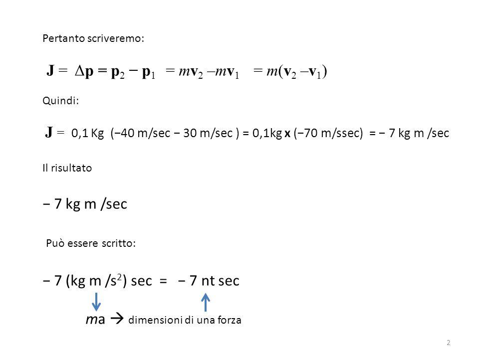 Pertanto scriveremo: J = Δp = p 2 − p 1 = mv 2 –mv 1 = m(v 2 –v 1 ) Quindi: J = 0,1 Kg (−40 m/sec − 30 m/sec ) = 0,1kg x (−70 m/ssec) = − 7 kg m /sec Il risultato − 7 kg m /sec Può essere scritto: − 7 (kg m /s 2 ) sec = − 7 nt sec ma  dimensioni di una forza 2