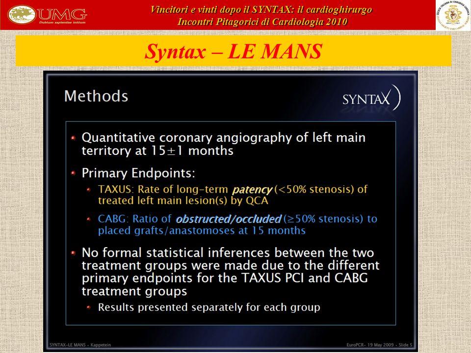 Syntax – LE MANS Vincitori e vinti dopo il SYNTAX: il cardioghirurgo Incontri Pitagorici di Cardiologia 2010 Incontri Pitagorici di Cardiologia 2010