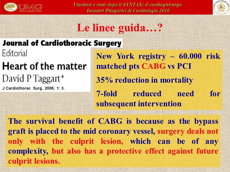 Le linee guida…? New York registry – 60.000 risk matched pts CABG vs PCI 35% reduction in mortality 7-fold reduced need for subsequent intervention Th