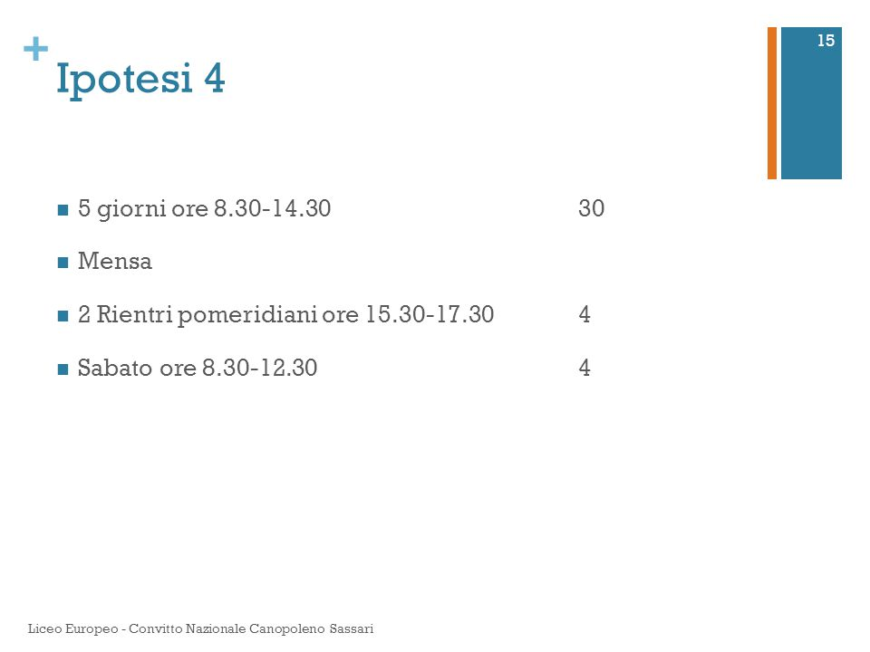 + Ipotesi 4 5 giorni ore 8.30-14.3030 Mensa 2 Rientri pomeridiani ore 15.30-17.30 4 Sabato ore 8.30-12.304 Liceo Europeo - Convitto Nazionale Canopole