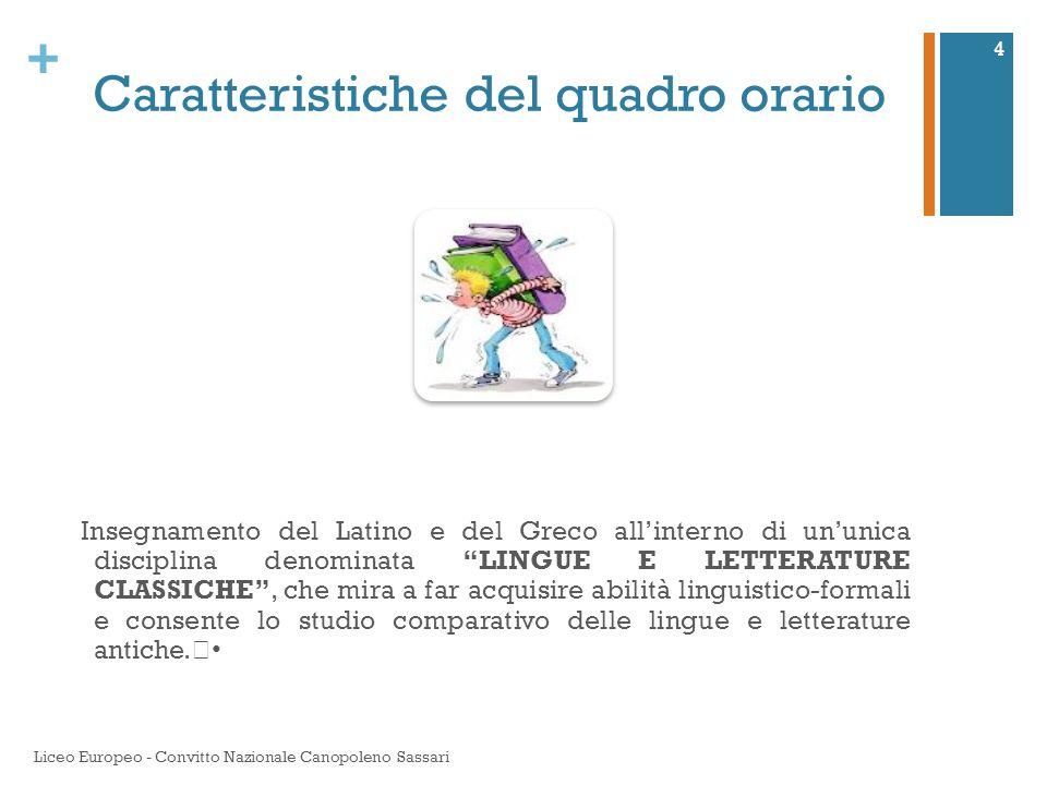 """+ Caratteristiche del quadro orario Insegnamento del Latino e del Greco all'interno di un'unica disciplina denominata """"LINGUE E LETTERATURE CLASSICHE"""""""