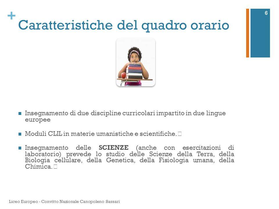 + Caratteristiche del quadro orario Insegnamento di due discipline curricolari impartito in due lingue europee Moduli CLIL in materie umanistiche e sc