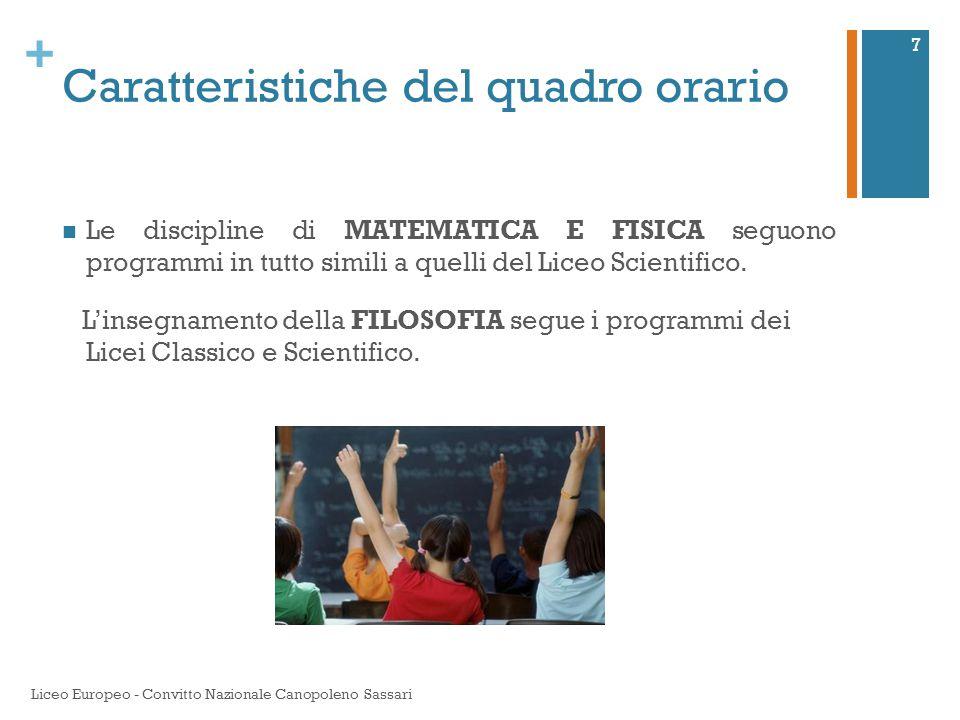 + Caratteristiche del quadro orario Le discipline di MATEMATICA E FISICA seguono programmi in tutto simili a quelli del Liceo Scientifico. L'insegname