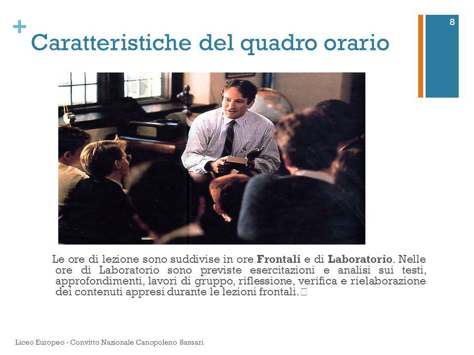 + Il convitto o il semiconvitto Gli allievi del liceo Europeo sono semiconvittori.