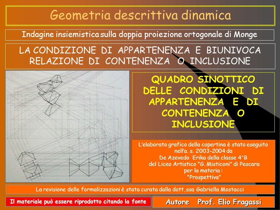 Geometria descrittiva dinamica Indagine insiemistica sulla doppia proiezione ortogonale di Monge Autore Prof.