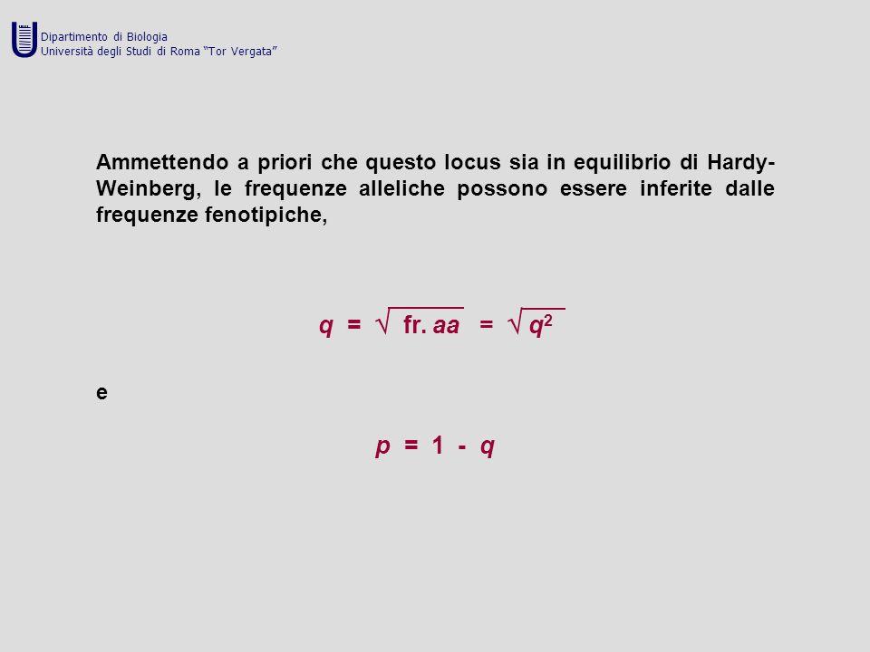 Ammettendo a priori che questo locus sia in equilibrio di Hardy- Weinberg, le frequenze alleliche possono essere inferite dalle frequenze fenotipiche,