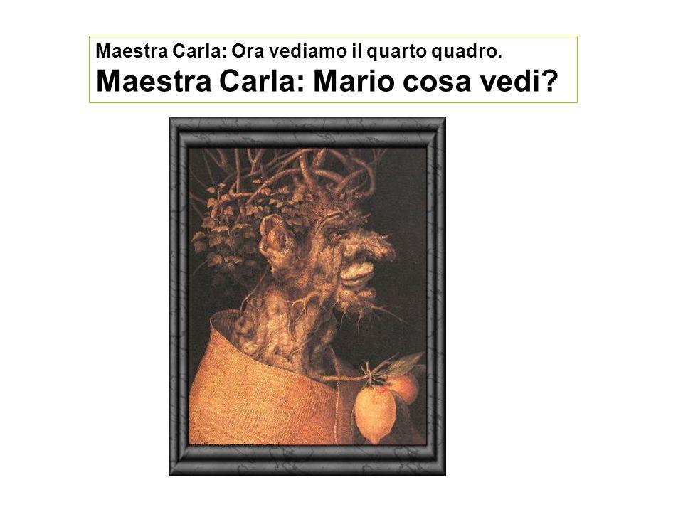 Maestra Carla: Ora vediamo il quarto quadro. Maestra Carla: Mario cosa vedi?