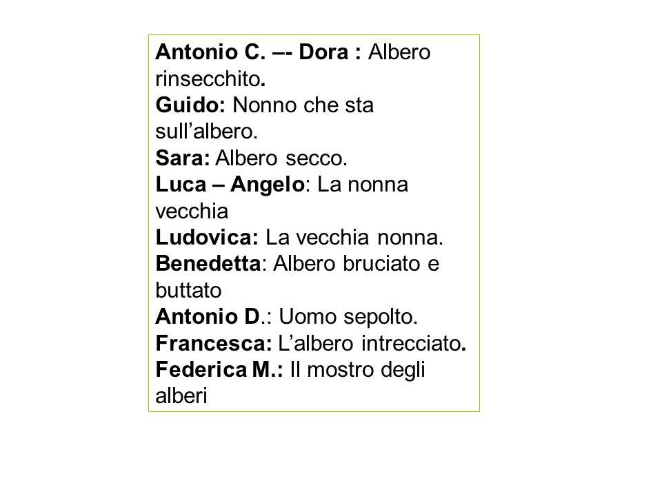 Antonio C.–- Dora : Albero rinsecchito. Guido: Nonno che sta sull'albero.