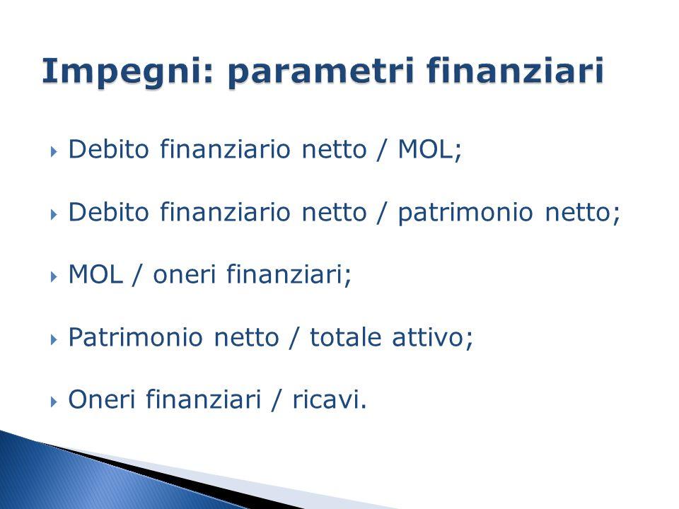  Debito finanziario netto / MOL;  Debito finanziario netto / patrimonio netto;  MOL / oneri finanziari;  Patrimonio netto / totale attivo;  Oneri finanziari / ricavi.