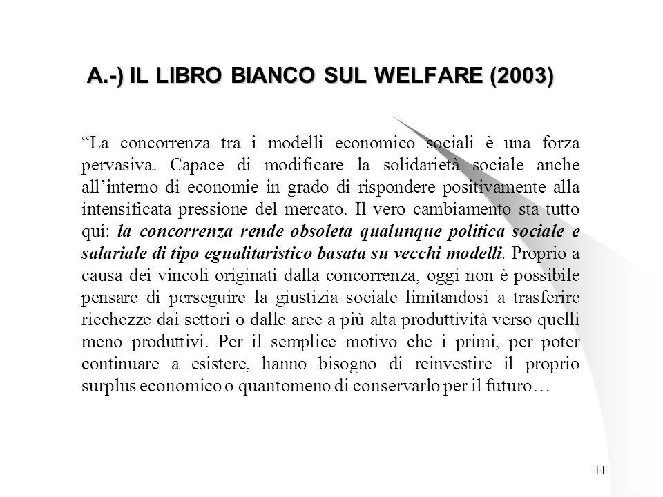 11 A.-) IL LIBRO BIANCO SUL WELFARE (2003) La concorrenza tra i modelli economico sociali è una forza pervasiva.