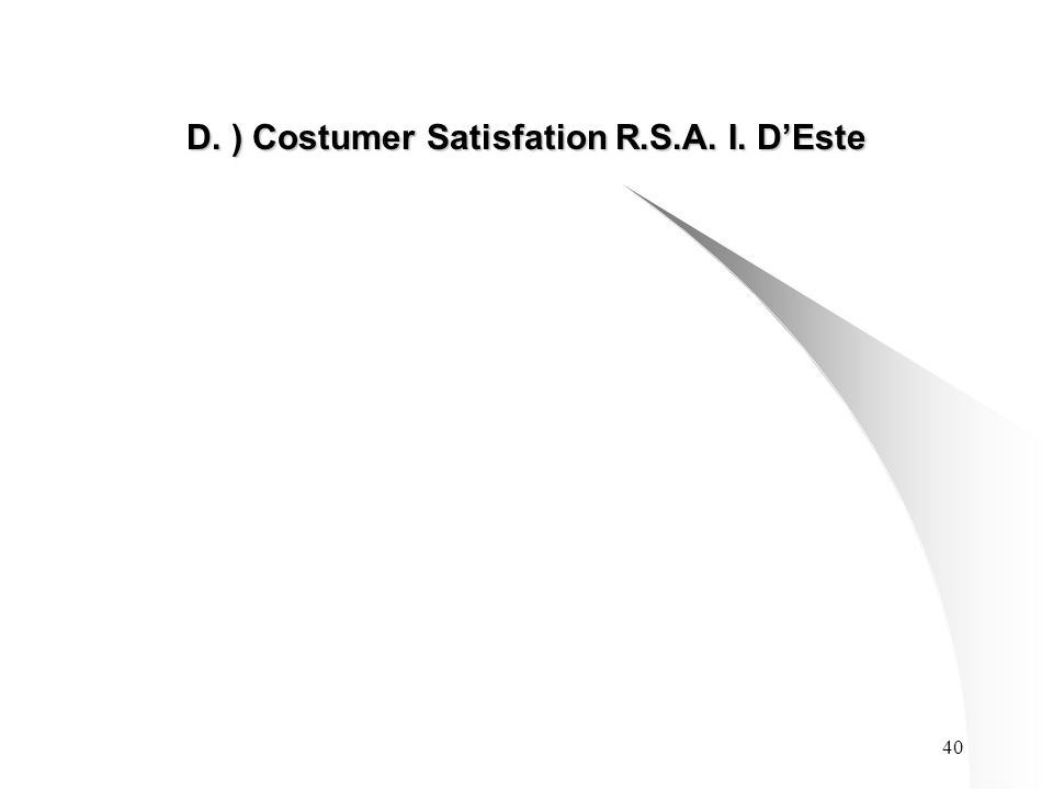 40 D. ) Costumer Satisfation R.S.A. I. D'Este