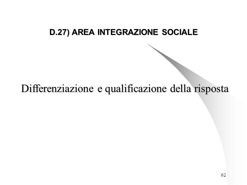 62 D.27) AREA INTEGRAZIONE SOCIALE Differenziazione e qualificazione della risposta