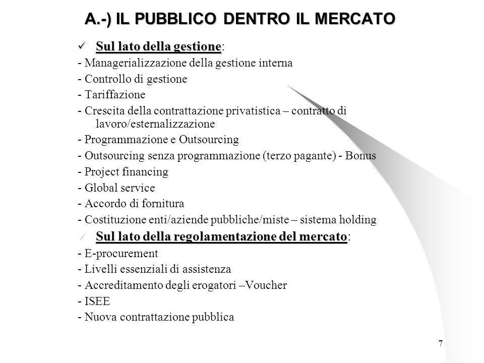 7 A.-) IL PUBBLICO DENTRO IL MERCATO Sul lato della gestione Sul lato della gestione: - Managerializzazione della gestione interna - Controllo di gestione - Tariffazione - Crescita della contrattazione privatistica – contratto di lavoro/esternalizzazione - Programmazione e Outsourcing - Outsourcing senza programmazione (terzo pagante) - Bonus - Project financing - Global service - Accordo di fornitura - Costituzione enti/aziende pubbliche/miste – sistema holding Sul lato della regolamentazione del mercato Sul lato della regolamentazione del mercato: - E-procurement - Livelli essenziali di assistenza - Accreditamento degli erogatori –Voucher - ISEE - Nuova contrattazione pubblica