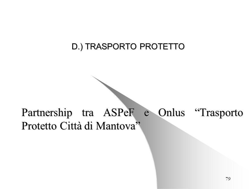 79 D.) TRASPORTO PROTETTO Partnership tra ASPeF e Onlus Trasporto Protetto Città di Mantova