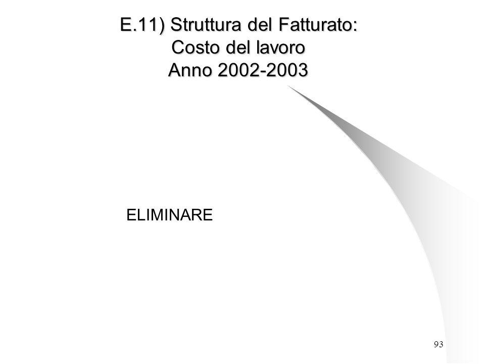 93 E.11) Struttura del Fatturato: Costo del lavoro Anno 2002-2003 ELIMINARE
