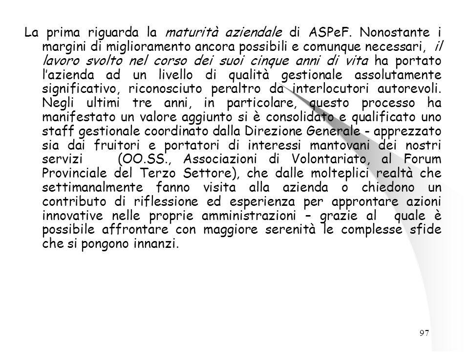 97 La prima riguarda la maturità aziendale di ASPeF.
