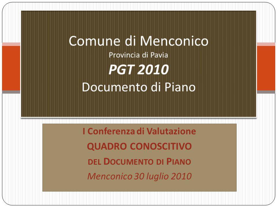 I Conferenza di Valutazione QUADRO CONOSCITIVO DEL D OCUMENTO DI P IANO Menconico 30 luglio 2010
