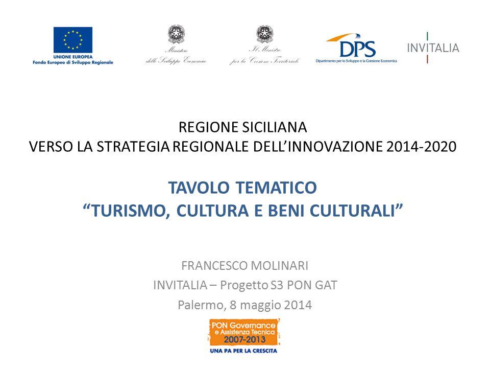 """REGIONE SICILIANA VERSO LA STRATEGIA REGIONALE DELL'INNOVAZIONE 2014-2020 TAVOLO TEMATICO """"TURISMO, CULTURA E BENI CULTURALI"""" FRANCESCO MOLINARI INVIT"""