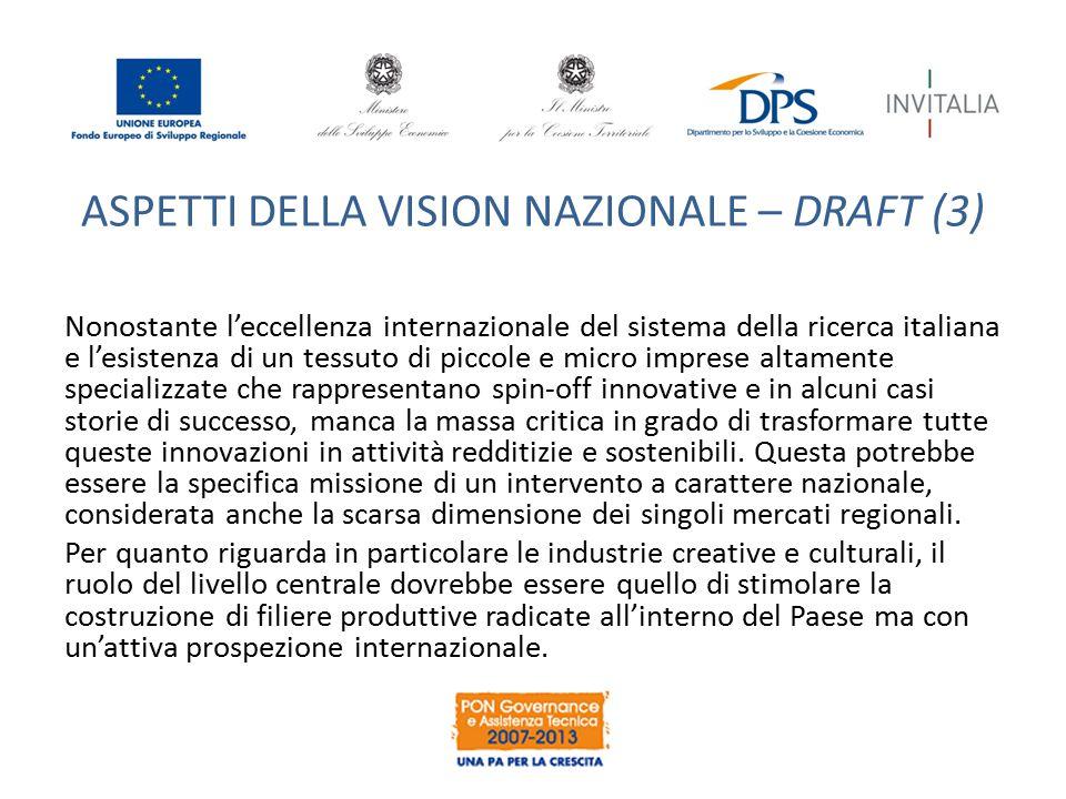 ASPETTI DELLA VISION NAZIONALE – DRAFT (3) Nonostante l'eccellenza internazionale del sistema della ricerca italiana e l'esistenza di un tessuto di pi