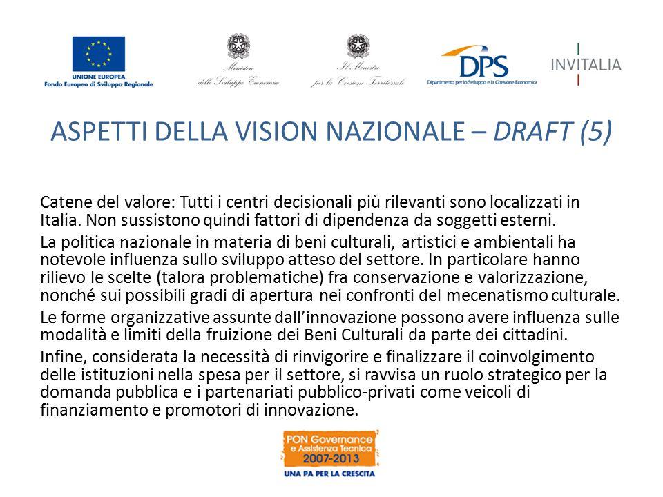 ASPETTI DELLA VISION NAZIONALE – DRAFT (5) Catene del valore: Tutti i centri decisionali più rilevanti sono localizzati in Italia. Non sussistono quin