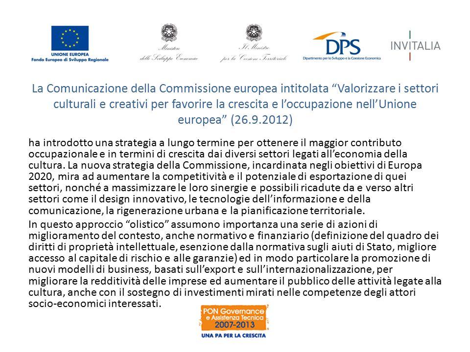 """La Comunicazione della Commissione europea intitolata """"Valorizzare i settori culturali e creativi per favorire la crescita e l'occupazione nell'Unione"""