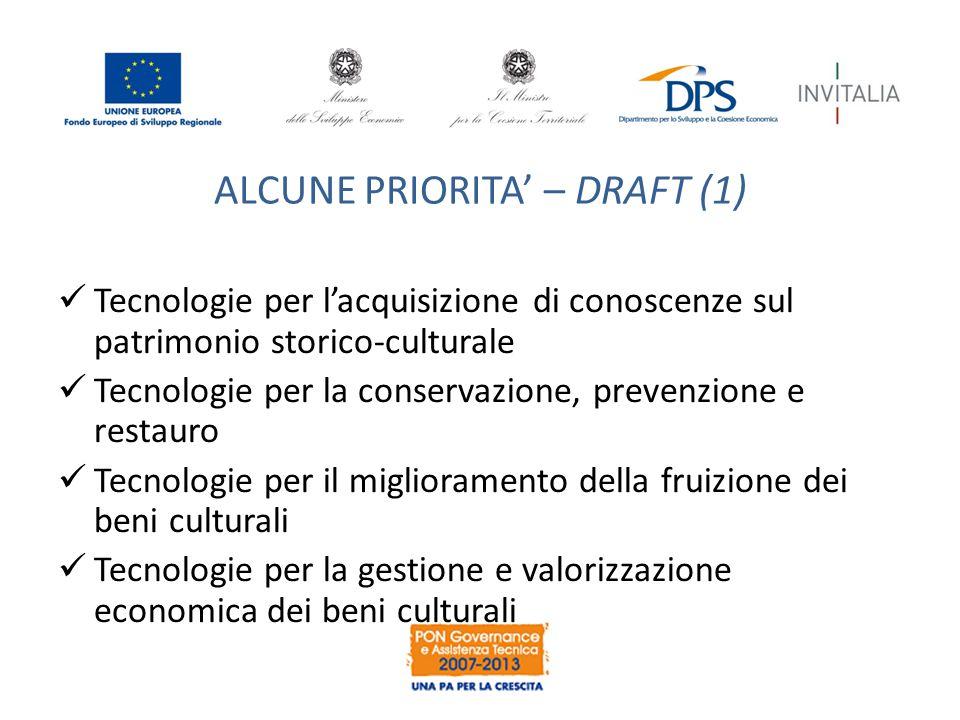 ALCUNE PRIORITA' – DRAFT (1) Tecnologie per l'acquisizione di conoscenze sul patrimonio storico-culturale Tecnologie per la conservazione, prevenzione