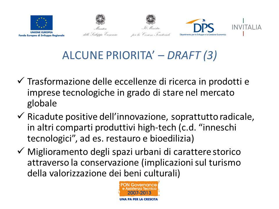 ALCUNE PRIORITA' – DRAFT (3) Trasformazione delle eccellenze di ricerca in prodotti e imprese tecnologiche in grado di stare nel mercato globale Ricad