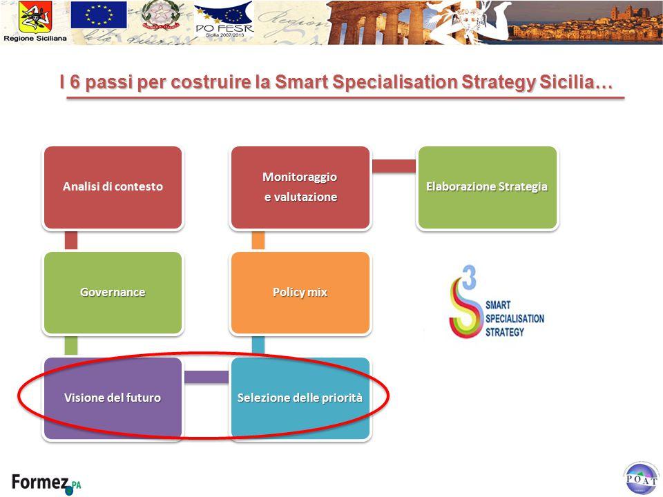Analisi di contesto Governance Visione del futuro Selezione delle priorità Policy mix Monitoraggio e valutazione e valutazione Elaborazione Strategia