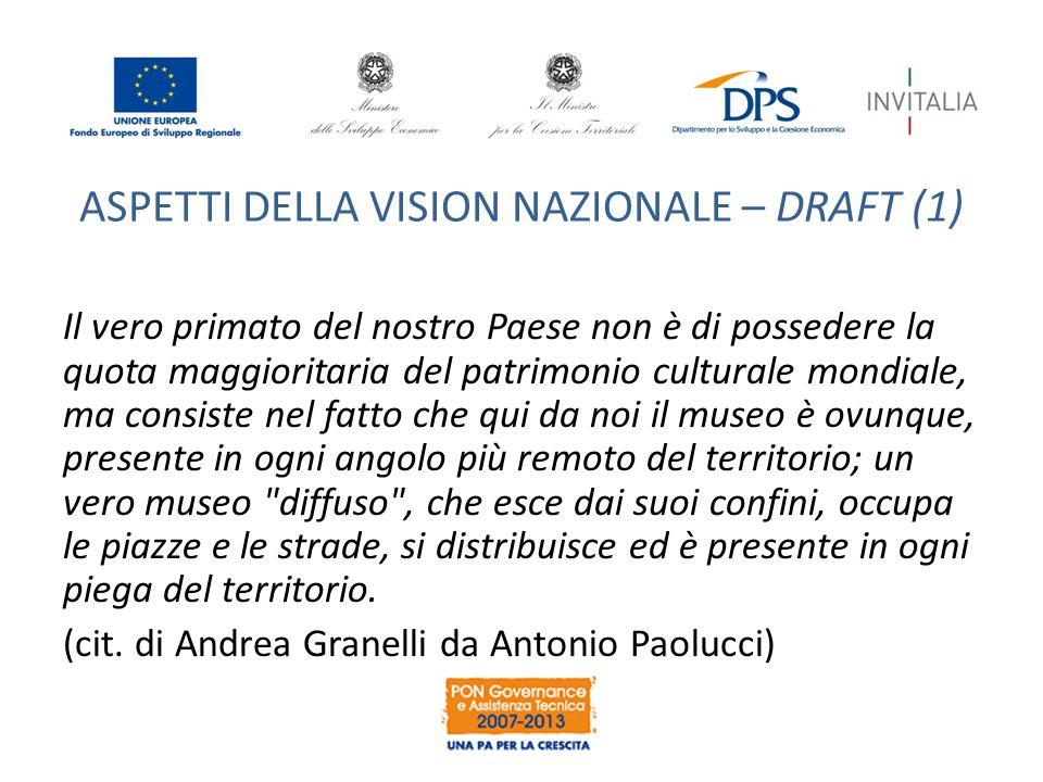 ASPETTI DELLA VISION NAZIONALE – DRAFT (2) Complessivamente l'Italia è molto ben posizionata nel sistema europeo della ricerca grazie alla sua enorme disponibilità di giacimenti culturali.