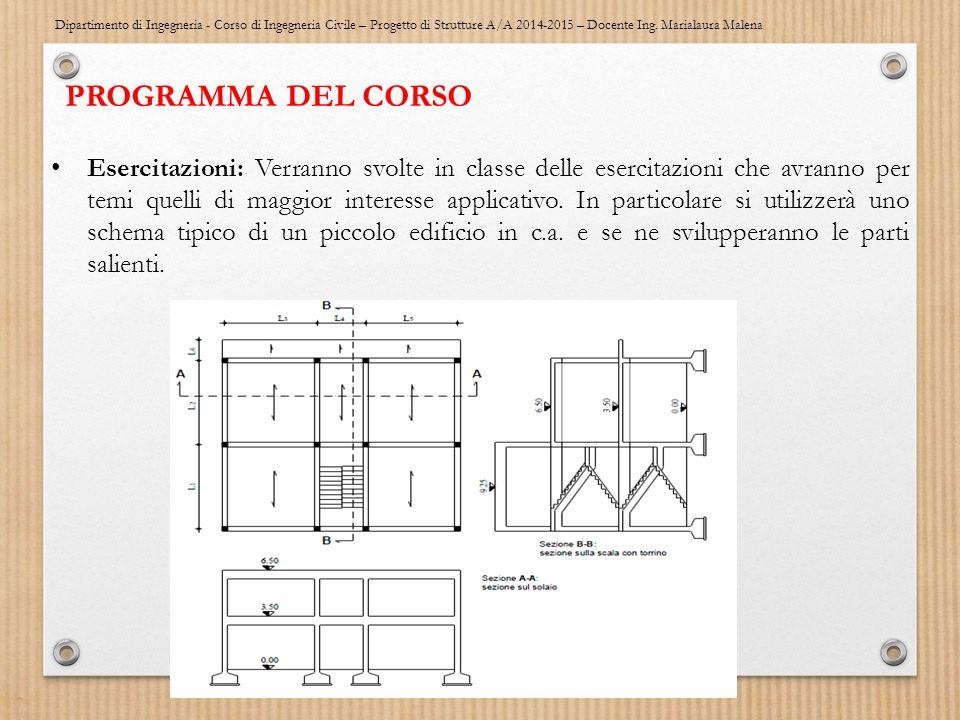 Dipartimento di Ingegneria - Corso di Ingegneria Civile – Progetto di Strutture A/A 2014-2015 – Docente Ing. Marialaura Malena PROGRAMMA DEL CORSO Ese